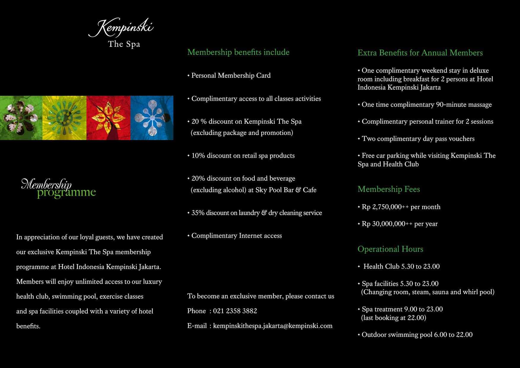 Health Club Membership Programme Hotel Indonesia Kempinski Jakarta